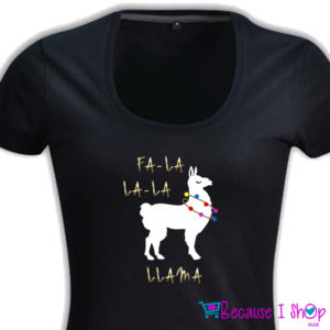 Fa La Llama – Ladies Low Scoop Neck T Shirt